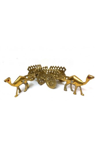 Thar Camel with Cart in Brass (Pair)