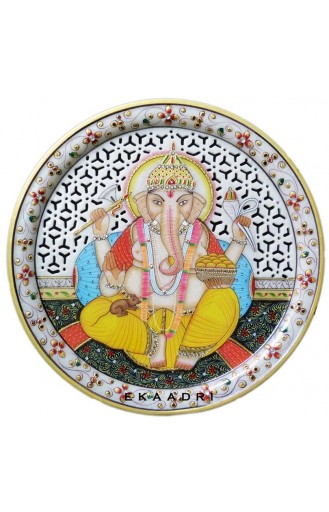"Ganesh Painting on Marble Plate - 9"" Inch"