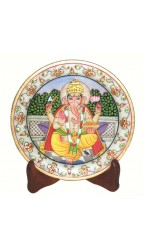"Ganesh Ji Painting on Marble Plate - 6"" Inch"