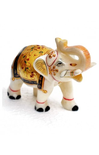 Inlay White Elephant Pair - 5'' Inch