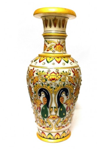 "Decorative Marble Flower Peacock Vase - 9"" Inch"