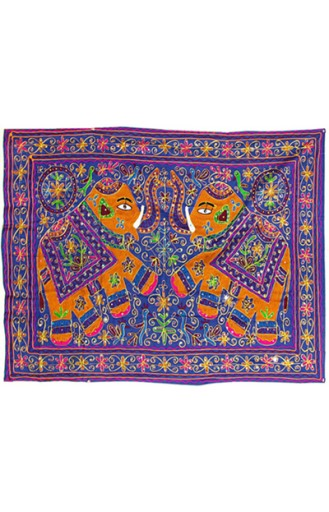 Embroidery Dancing Elephant Wall Hanging