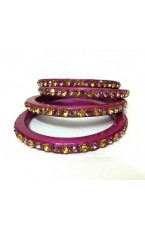 "Laakh Bangle Set in Wine & Stone Work- 2.5 "" Inch"
