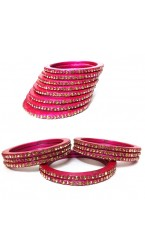 "Laakh Bangle Set in Pink in Stone Work- 2.4 "" Inch"