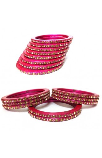 """Laakh Bangle Set in Pink in Stone Work- 2.4 """" Inch"""
