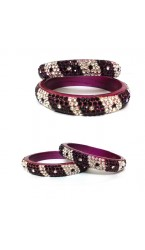 """Laakh Bangles in Multi Color Stone Work- 2.4 """" Inch"""