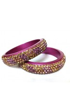 "Laakh Bangles in Pink with Stone Work- 2.4 "" Inch"