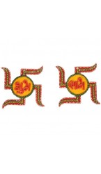Kundan Wooden Swastik Shubh Labh Door Hangings