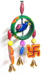 "Bangle Wooden Ring Parrot Door Hanging - 9"" Inch"